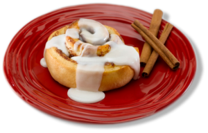 cinnamon-roll-on-red-plate