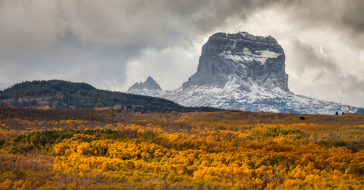 Beautiful view of Chief Mountain in Glacier National Park in the Flathead Valley during fall