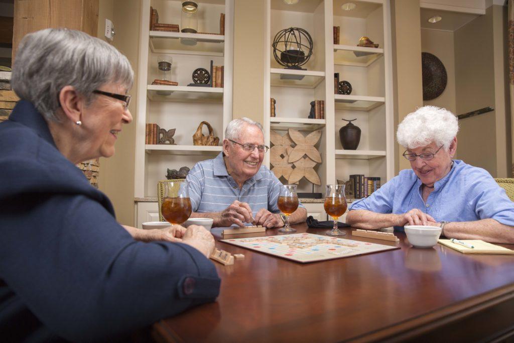 Seniors playing Scrabble