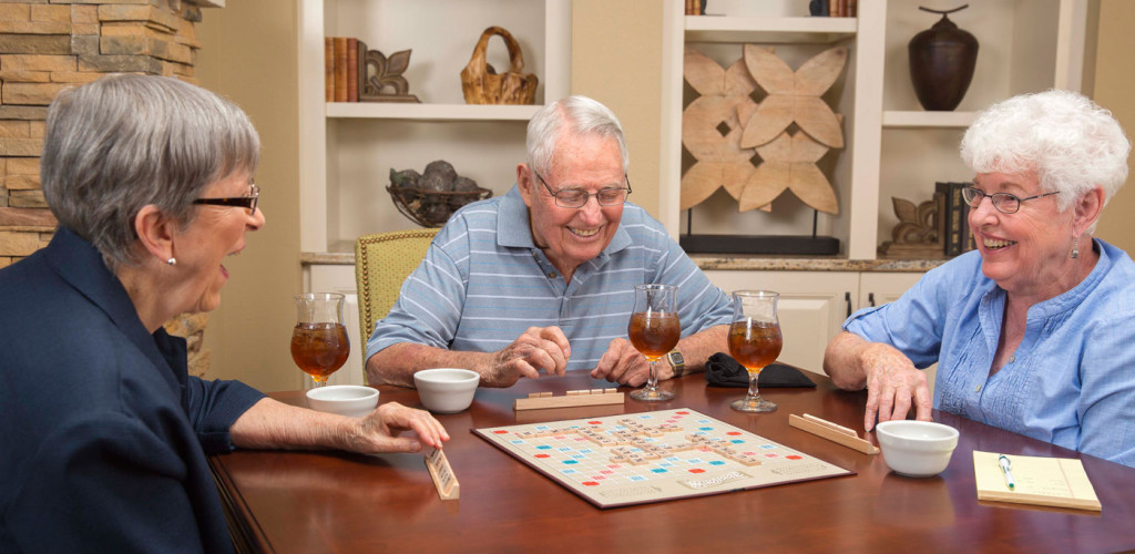 seniors playing scrabble