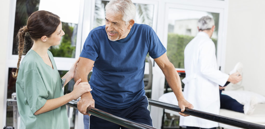 Senior doing physical therapy for hip replacement recovery