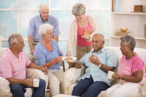 Seniors socializing and enjoying their senior living community